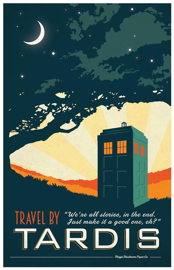 TARDIS Doctor Who Travel Poster Vintage Print Geekery door MMPaperCo