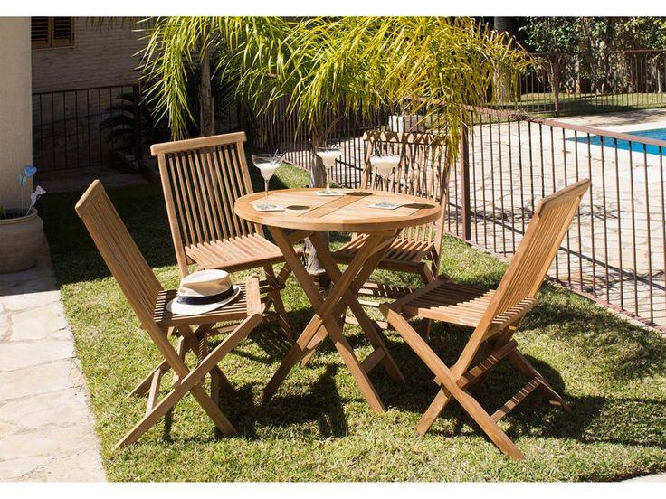 silla jardn plegable de madera de teca