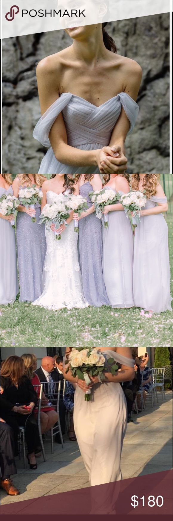 """Amsale convertible crinkled silk chiffon gown Amsale bridesmaid dress in """"Dove"""". Last picture is not color just style. Size 6, only hemmed to fit height of 5'3"""" with 4"""" shoes. No stains or rips, cleaned. Amsale Dresses Wedding"""