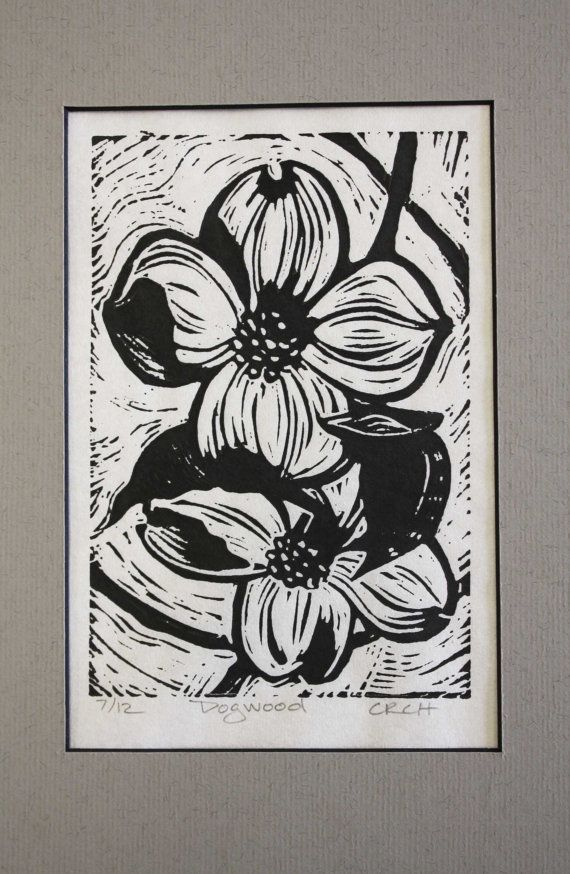 Dogwood Linoleum Block Print by CynthiaHarrington on Etsy