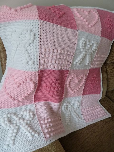 Hand-Knitted Crochet Bobble Heart and Bowknot Blanket Free Pattern - Lap Blanket, Crochet Craft, Pink Blanket:
