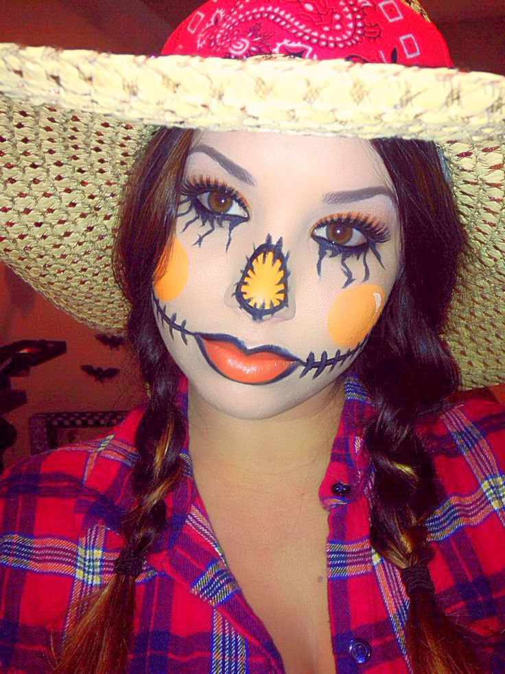 Doing my moms makeup like a scarecrow so she can help with my little brothers Halloween party.