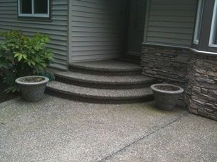 Exposed aggregate concrete stairs