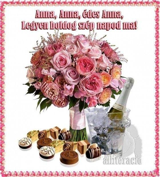 névnap, Anna, képeslap, virágok, köszöntő, pezsgő, rózsa,