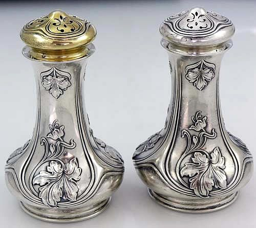 art nouveau sterling salt and pepper