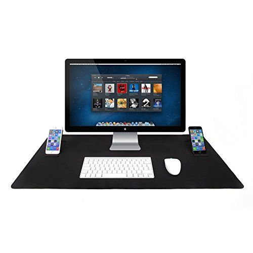 Gaming Mouse Mat / Mouse Pad Jelly Comb Extended Large Desk Keyboard Mat (850 X 440 X 4 Mm) Anti-slip Rubber Base With 2 Mobile Phone Stands For Computer Pc And Laptop Black