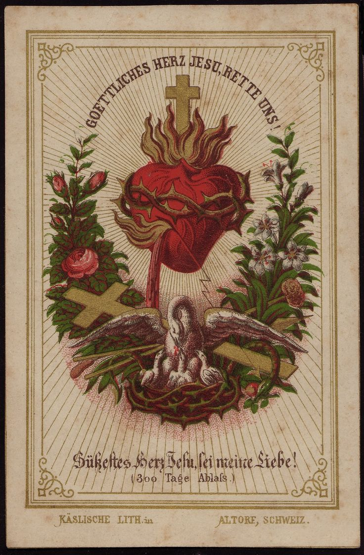 German holy card of Sacred Heart