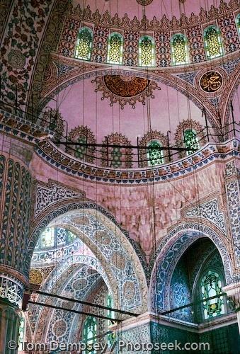 Sultanahmet Mosque interior and ceiling. Built 1609-1616 in Istanbul, Turkey