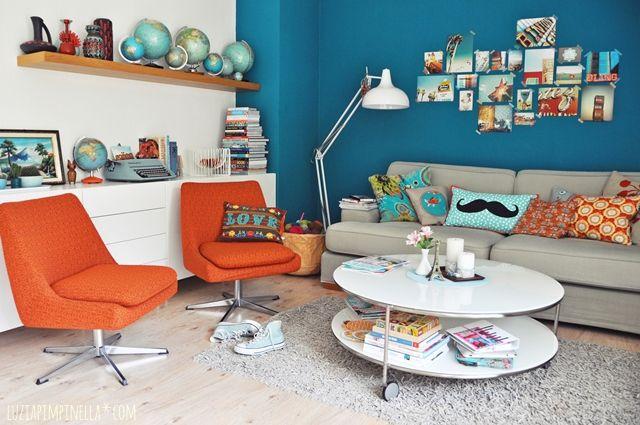 luzia pimpinella | interior  home story | unser wohnzimmer in petrol, türkis und orange | our living room in teal, turquoise and orange