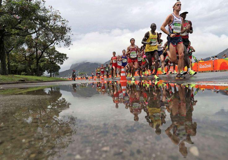 Marathon men:     Callum Hawkins of Great Britain leads the men's marathon on Aug. 21.