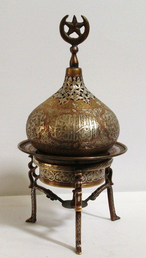 Islamic incense burner, copper, silver and inlad of Damascus