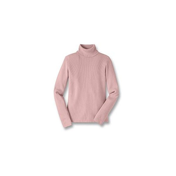 Ribbed Cotton Turtleneck Sweater ❤ liked on Polyvore featuring tops, sweaters, polo neck sweater, pink top, turtle neck sweater, pink turtleneck and turtleneck top