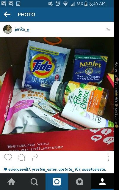 If you haven't tried influenster you really should! This is my comfort voxbox  2015 in it i received fiber one gummies immune support that are delish, also annies homegrown soup,tide, and fisher nut exactly that was a really good twist and sure deodorant and last but not least ragu coupons that we used to make some yummy spaghetti
