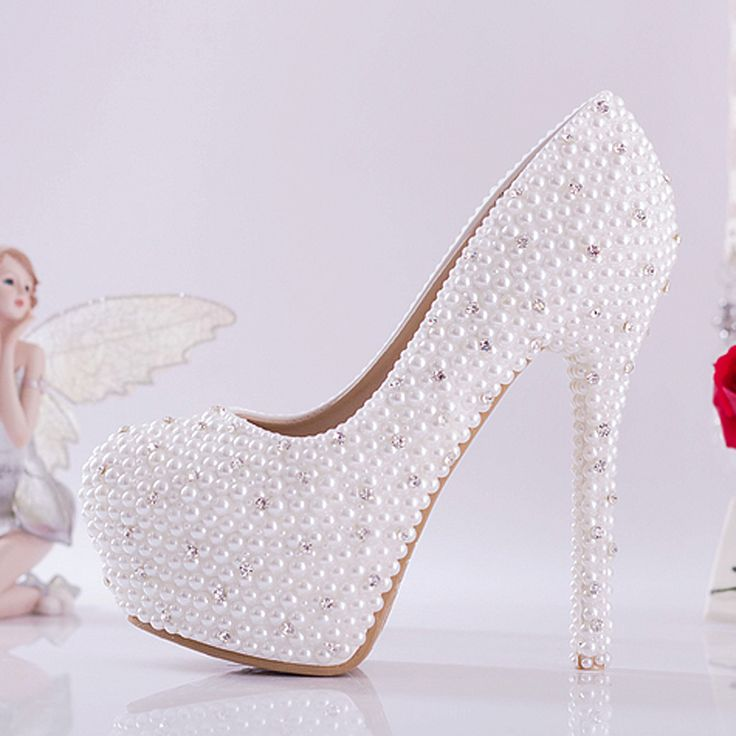 White bridal shoes high-heeled shoes diamond luxury pearl rhinestone wedding shoes with platform high thin heel 10cm 14cm