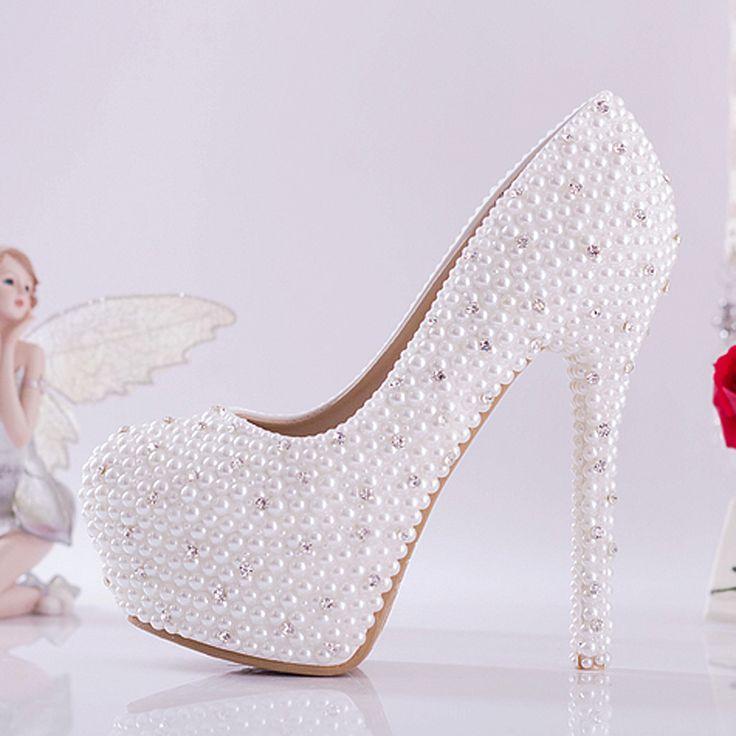 White bridal shoes high-heeled shoes diamond luxury pearl rhinestone wedding shoes with platform high thin heel 10cm 14cm