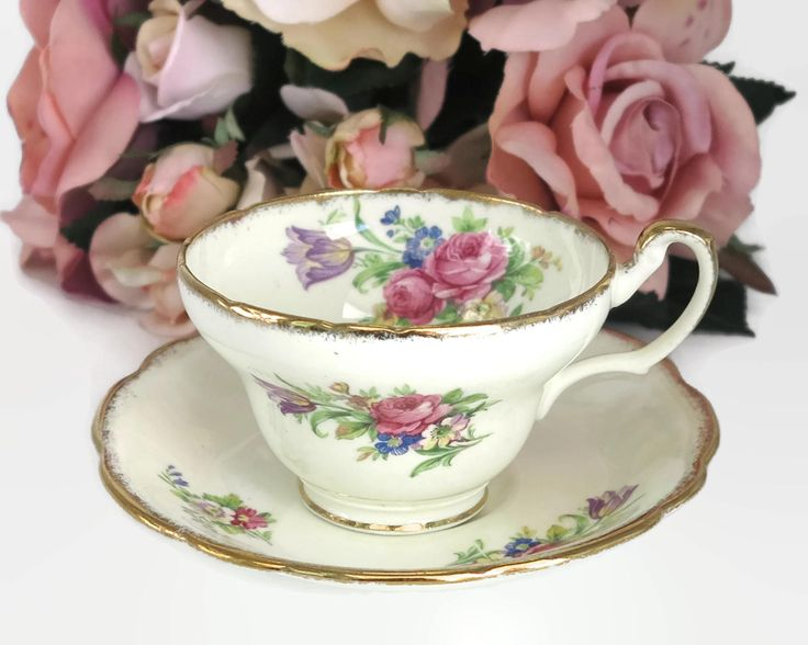 Vintage Foley cup and saucer, E Brain & Co, England, tulip pattern, cream background with tulips and roses, lots of gilt, 1936 - 1948 by CardCurios on Etsy