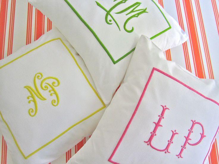 Crisp piquet shams with vibrant colored monograms - Julia B.