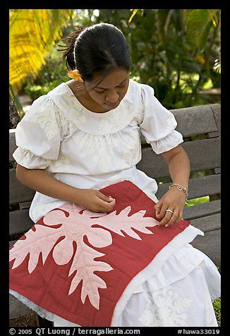 Woman quilting. Polynesian Cultural Center, Oahu island, Hawaii, USA (color)