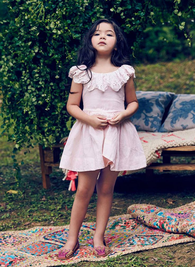 100% cotton dress with eyelet ruffle neckline in Heavenly Pink.