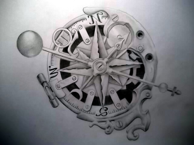 steampunk compass drawing the image kid has it. Black Bedroom Furniture Sets. Home Design Ideas