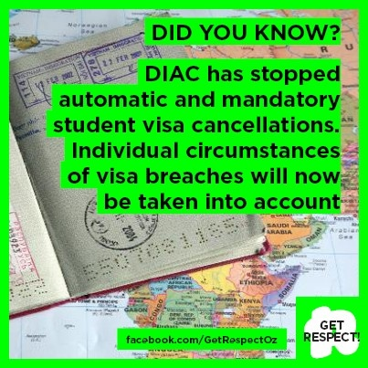The Department of Immigration and Citizenship has changed how it deals with visa breaches. Cancellations of student visas for breaches of your visa conditions are no longer automatic and mandatory. This means they will now consider the individual circumstances of the breach.  More info here: http://www.immi.gov.au/students/students/cessation-auto-mandatory-sv-cancellations.htm