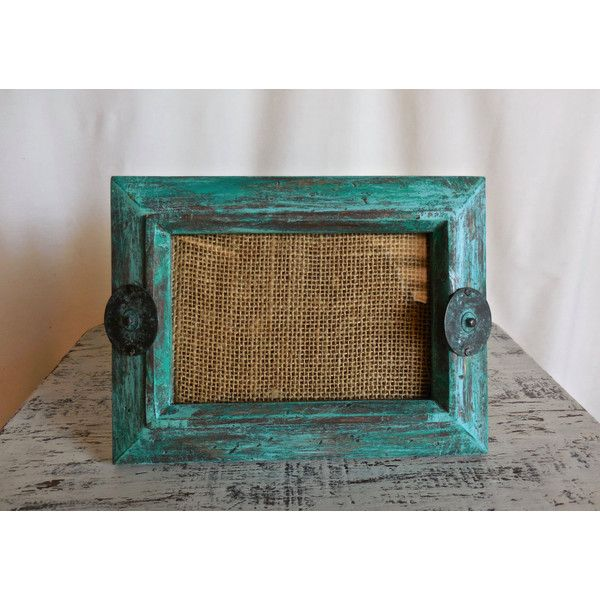 "4"" x 6"" Photo Frame Teal Distressed /Wood/Housewarming Gift/Rustic... (€26) ❤ liked on Polyvore featuring home, home decor, frames, wooden picture frames, wood home decor, wood frames, teal home accessories and wooden home decor"