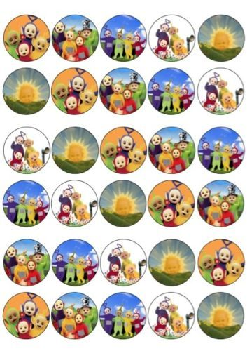 30 x Teletubbies Mixed Images Edible Cup Cake Toppers Premium Rice Paper 204 | eBay