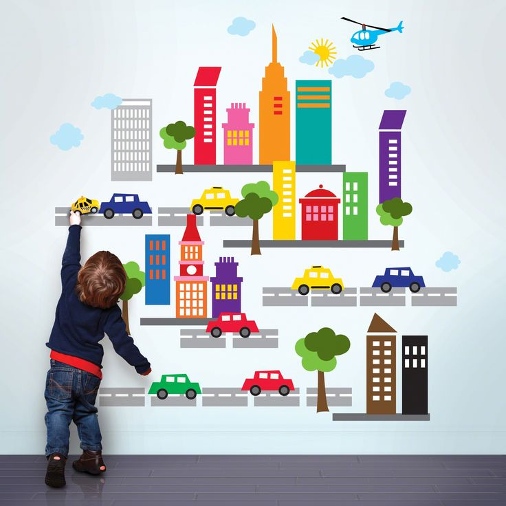 City wall stickers.  Peel & stick vinyl. Removable, reusable, non-toxic, BPA free. Made in USA. $48.00