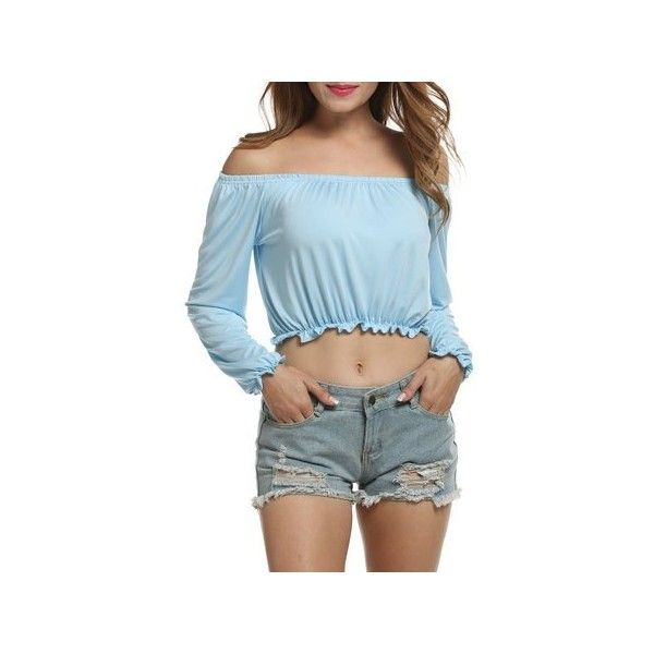 Zeagoo Women's Off Shoulder Long Sleeve Boho Sexy Crop Top Blouse ($12) ❤ liked on Polyvore featuring tops, blouses, long-sleeve shirt, blue long sleeve shirt, off the shoulder blouse, long sleeve button down shirts and blue button up shirt