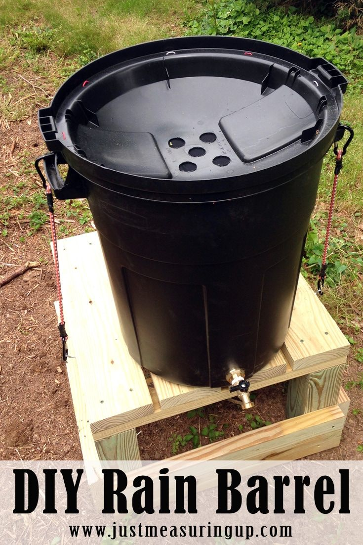 Trash barrel, flip lid, drill & screen holes, secure lid to barrel & barrel to stand, use bulkhead fitting for spigot.