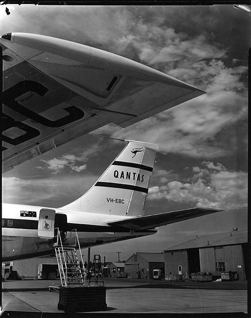 July 29, 1959: QANTAS introduces the Boeing 707 on its Sydney-San Francisco route, the first transpacific service flown by jet.
