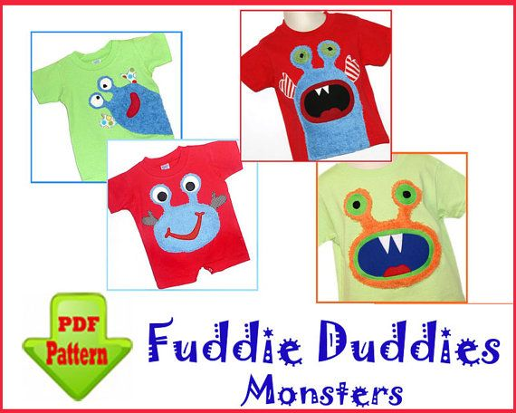 Monster Iron-on Applique Patterns. 4 Designs included. INSTANT DOWNLOAD. Super Cute on Toddlers Tees, Pants, Shorts, Onsies.