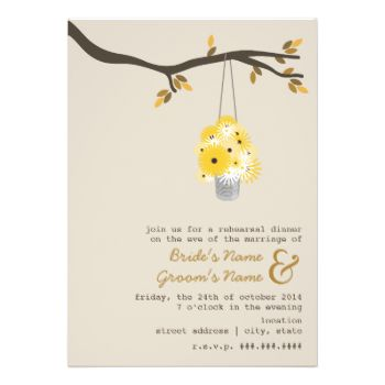 An outdoors fall wedding rehearsal dinner invitation featuring an illustration of a tin can filled daisies and black eyed susans hanging from a tree branch with autumn leaves. Personalize the text with your information. #wedding #outdoor #wedding #wilderness #fall #wedding #autumn #wedding #tin #can #daisies #daisy #rehearsal #dinner #rustic #rehearsal #dinner #tree #branch #black #eyed #susans #wildflowers