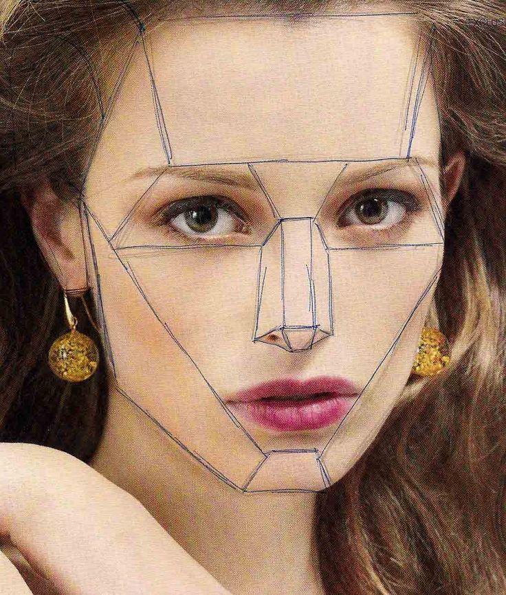 Desenhando planos básicos sobre a cabeça numa fotografia