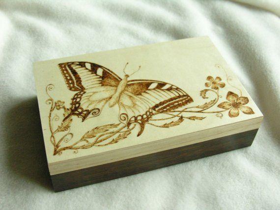 Butterfly Burned Wooden Keepsake Box