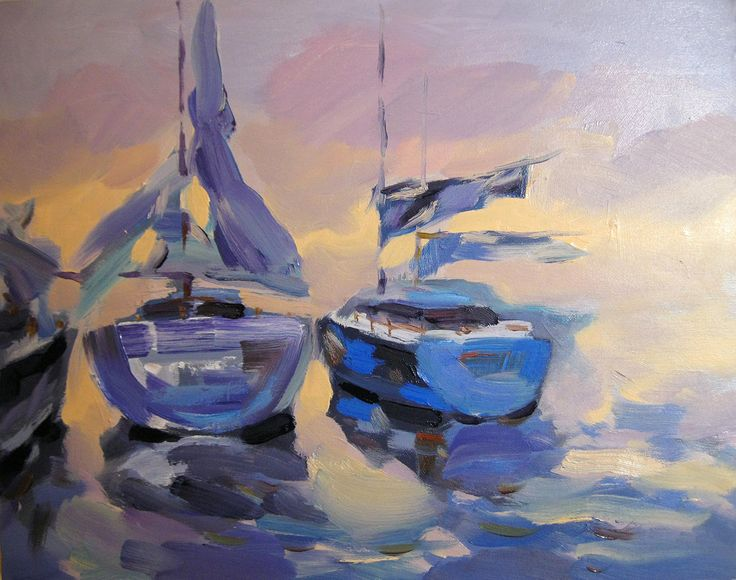 Yachts. Oil, canvas
