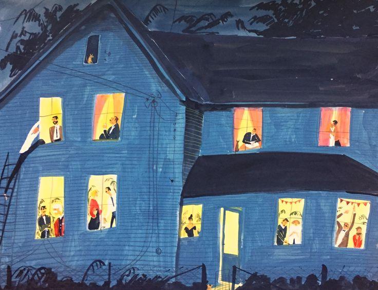 Lesje: eerst huisje maken dan ramen uitsnijden gele tekening er achter ( verschillende tinten blauw, verschillende tinten geel