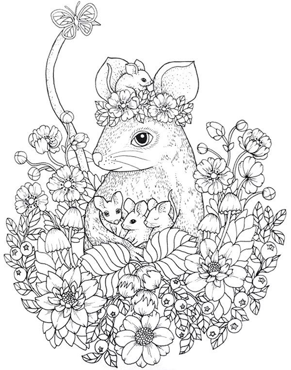 Maria Trolle Mouse And Babies Animal Coloring Pages Coloring