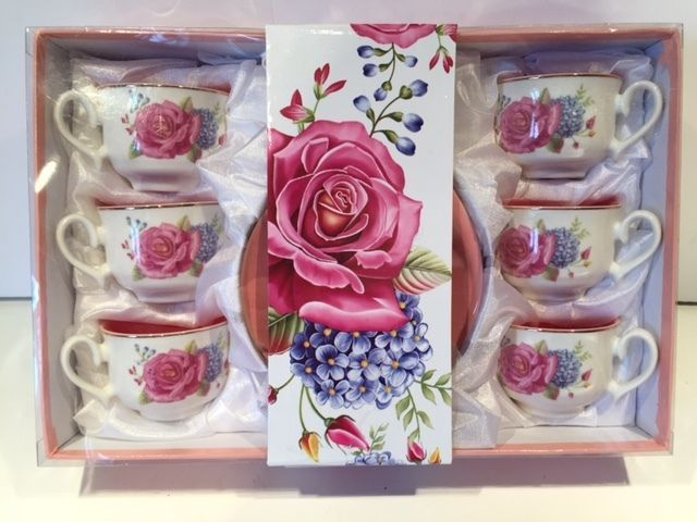 Porcelain Espresso or Turkish Coffee Gift Set 6 Cups & Saucers Pink Roses Floral #MettoHouse
