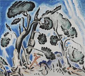 Παρθένης Κωνσταντίνος (1878/1879 - 1967) Μάχη του Ηρακλή με τις Αμαζόνες, 1921 - 1927 Λάδι σε καμβά , 116 x 130,6 εκ. Δωρεά Σοφίας Παρθένη , Αρ. έργου: Π.6503