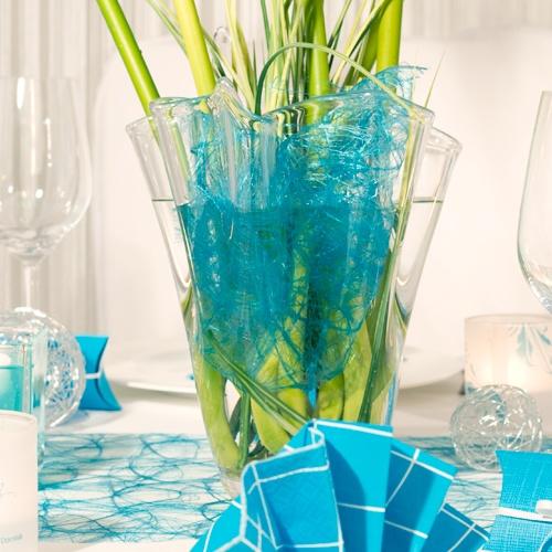 Glasvase Tissue mit Sizoweb - Tischdekoration