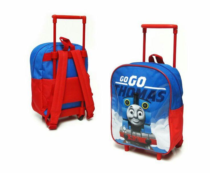 Mochila diseño estampado,  pre escolar, liviana,  color negro y con carro para transportarla, tela polyester.