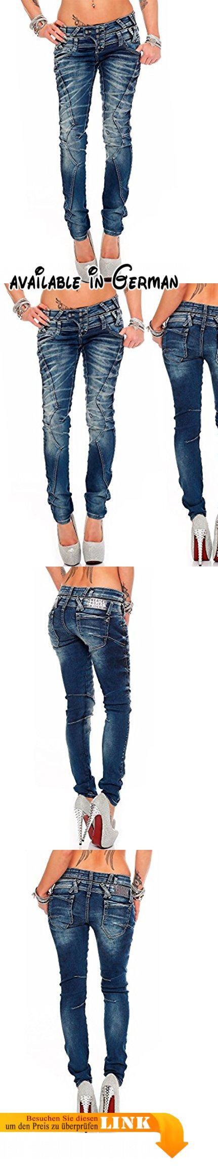 Cipo & Baxx Damen Jeans WD250 W28/L34. Slim-Fit. Teilungsnähte auf den Hosenbeinen. 86% Baumwolle 4% Polyester 10% Elasthan. Blau. Model 28 - bans24 - Cipo & Baxx #Apparel #PANTS