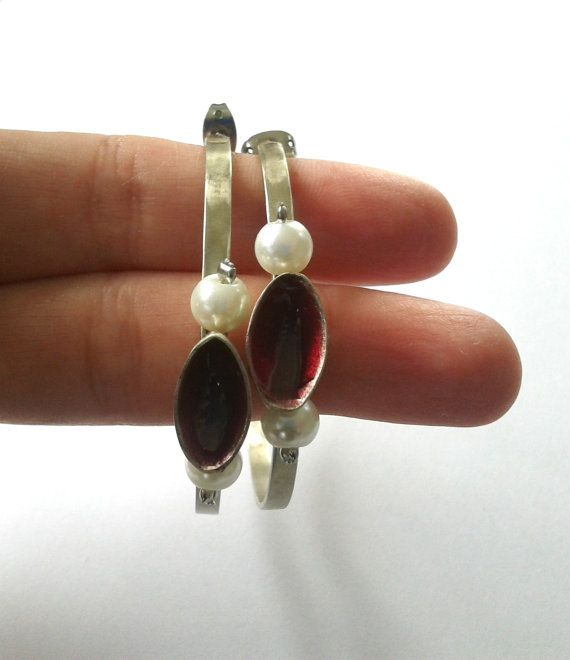 Handmade, statement, alpaca hoop earrings with ruby red resin and pearl beads
