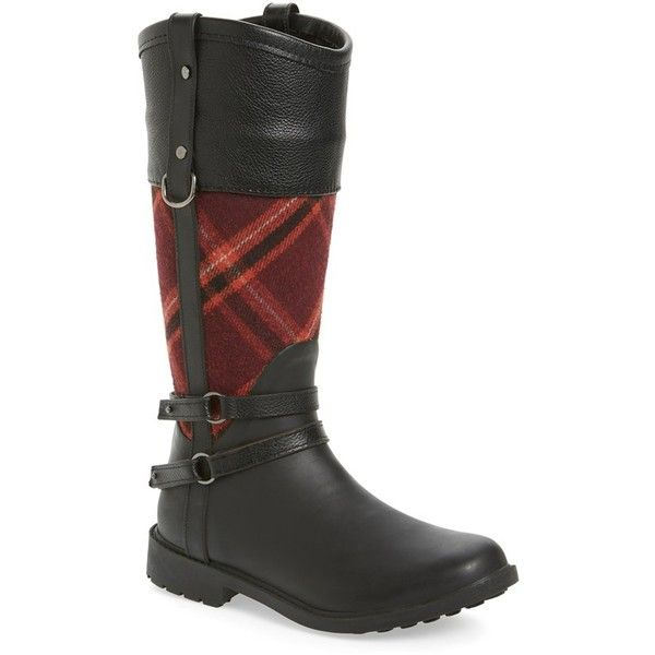 Women's Chooka Canter Rain Boot ($120) ❤ liked on Polyvore featuring shoes, boots, red, genuine leather shoes, rain boots, chooka boots, wellington boots and chooka shoes