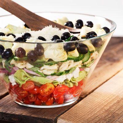 Layered Mediterranean Tortellini SaladGreek Tortellini Salad, Salad Recipes, Mediterranean Tortellini, Food, Eating, Summer Salad, 7 Layered Salad, Layered Mediterranean, Summer Dinner