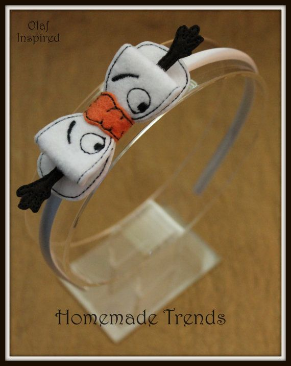 Olaf Inspired 3D Bow Hard Headband by HomemadeTrends on Etsy, $7.50