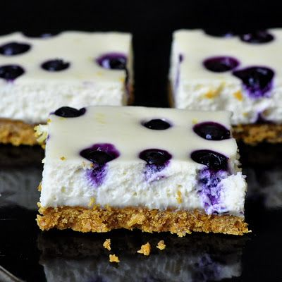 Lemon blueberry cheesecake bars.