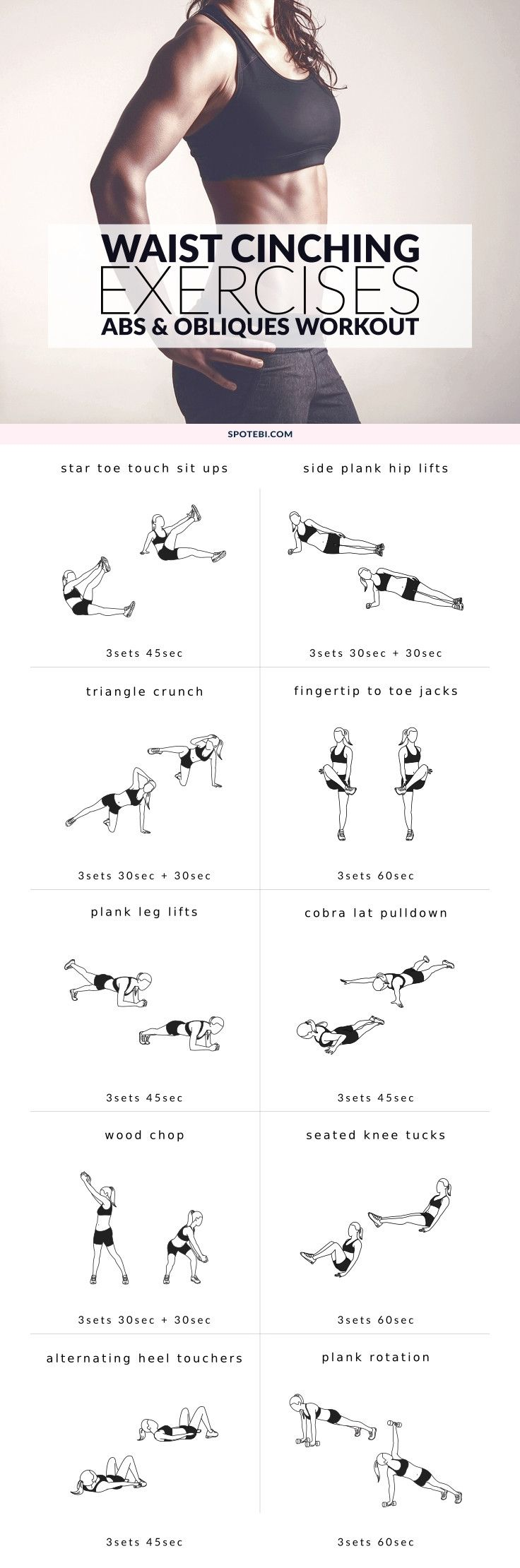 Work your abs and obliques with these core exercises for women. A 30-minute waist cinching workout that will activate your obliques and define the waistline. Start the timer and enjoy your workout! https://www.spotebi.com/workout-routines/core-exercises-for-women-abs-obliques-workout/ #totalbodytransformation