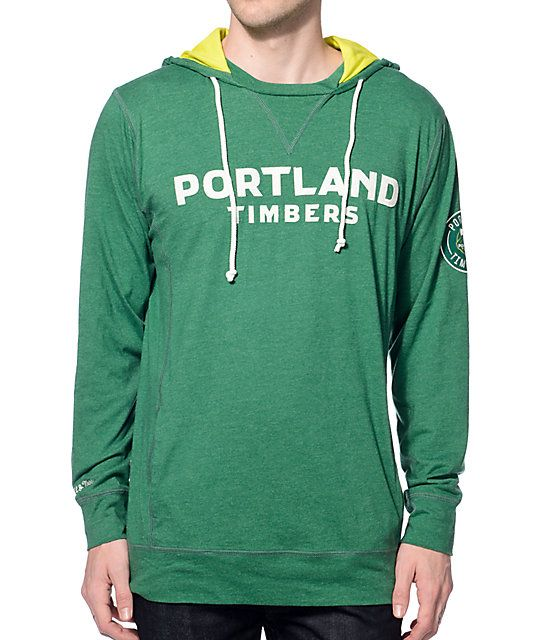 Celebrate the Portland Timbers first ever MLS Cup trophy with the MLS Mitchell and Ness Timbers Away hoodie. A perfect team style in their…